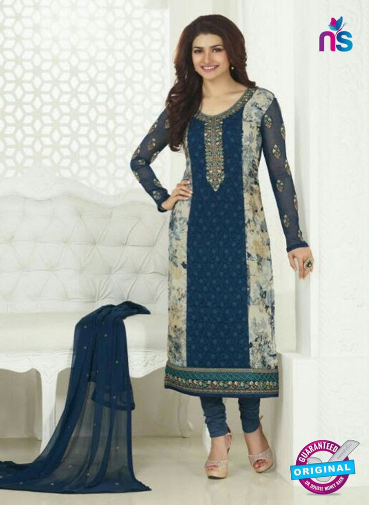 3753 Blue Embroidered Georgette Party Wear Straight Sui