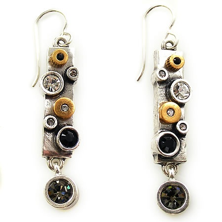 Groove Earrings in Silver, Black and White, Patricia Locke Jewelry