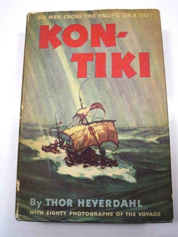 Kon-Tiki Book by Thor Heyerdahl 6 Men Cross Across the Pacific Ocean on a Raft 80 Photos HC w/ DJ 1951 14th Printing Epic Seafaring Voyage