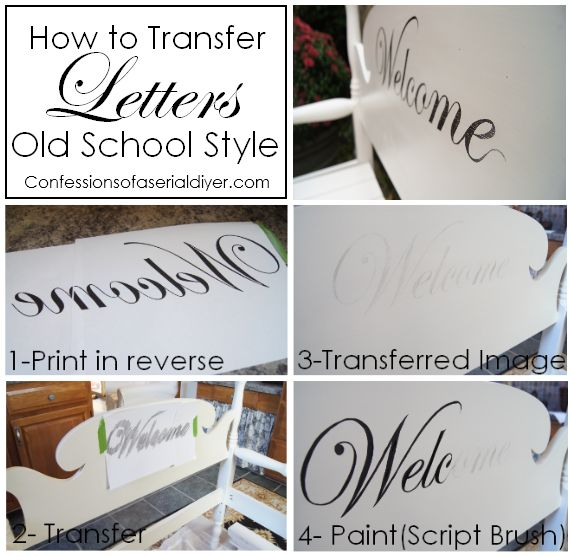 How to transfer letters old school style diy home decor for Furniture 5 letters