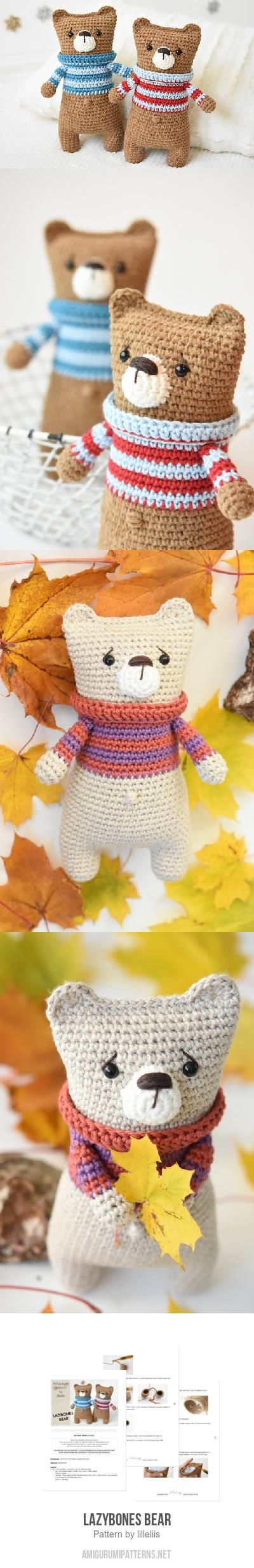 How cute (and easy) are these bears?!?!?! Reminds of the new rag doll style of toys coming out lately. Lazybones bear amigurumi pattern