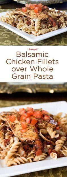 Balsamic Chicken Fil Balsamic Chicken Fillets over Whole Grain...  Balsamic Chicken Fil Balsamic Chicken Fillets over Whole Grain Pasta - Transform ordinary chicken into something extraordinary! #skinnyms Recipe : http://ift.tt/1hGiZgA And @ItsNutella  http://ift.tt/2v8iUYW