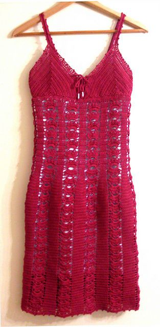 Red Cotton Crochet Dress and several other free patterns for dresses.
