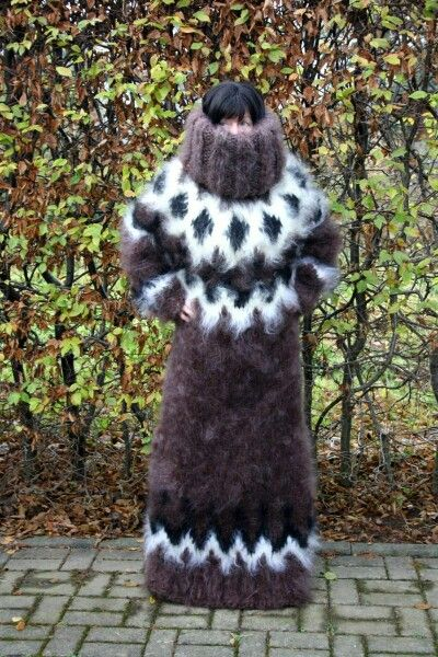 Thick mohair very long sweater .