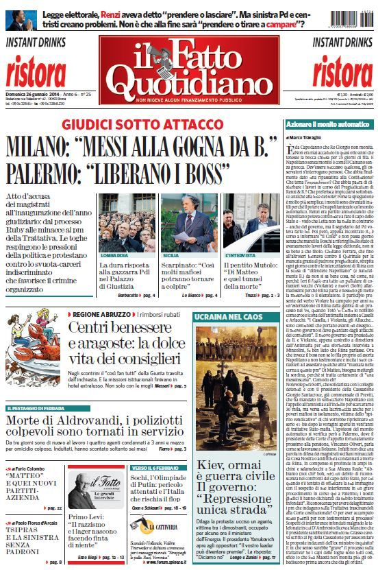 Il Fatto Quotidiano (26-01-14)Italian | True PDF | 24 pages | 10,14 Mb