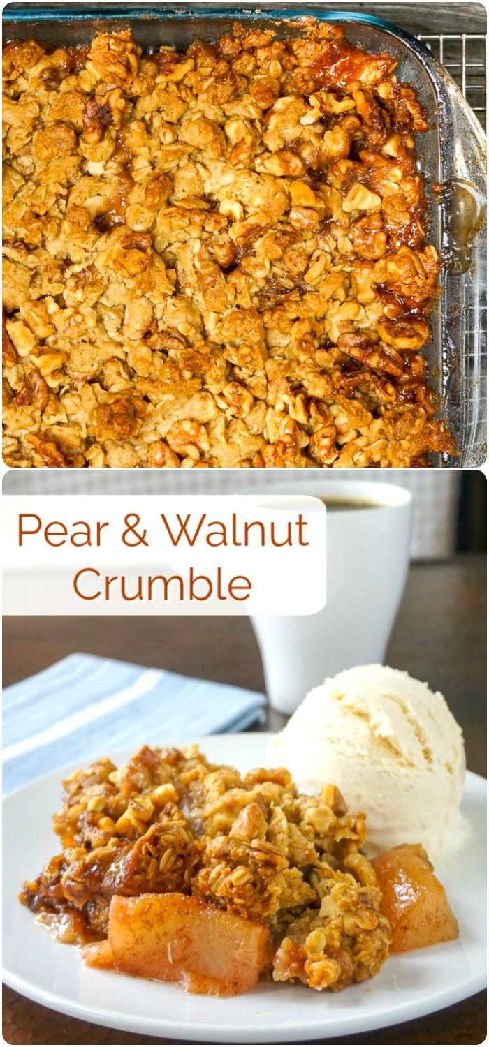 Pear Crumble with Walnuts – a delicious twist on an apple crumble using another favourite fall fruit and toasty walnut flavour too. #Fall #FallFood #comfortfood #dessert