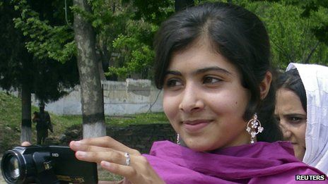 """Malala Yousafzai, 14, """"I don't mind if I have to sit on the floor at school. All I want is education. And I'm afraid of no one."""""""