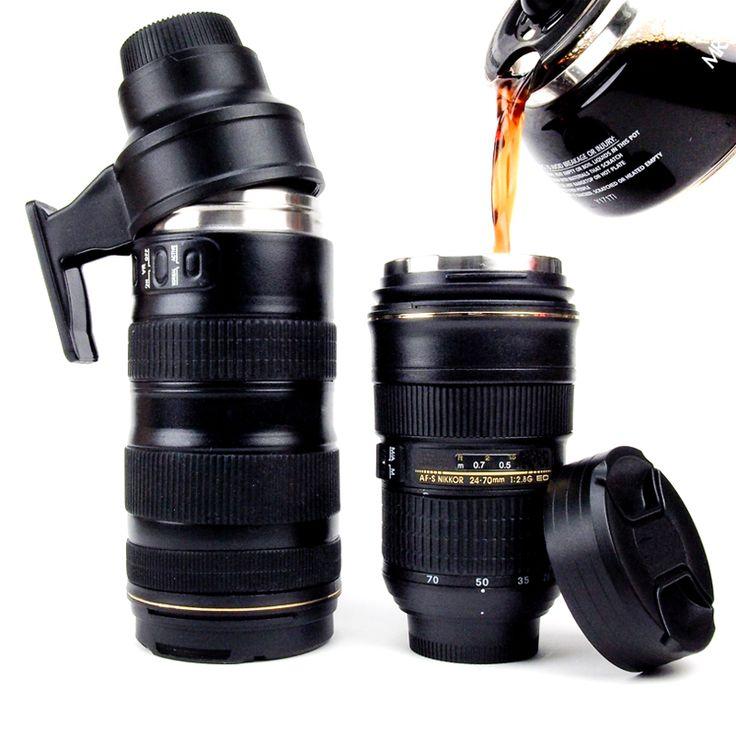 Nikon Camera Lens Mugs by Photojojo -- a Thermos Lens and a Zoom Mug for  your imbibing pleasure.