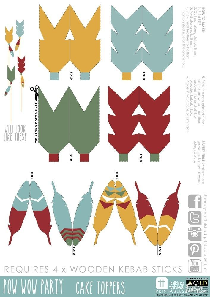 Pow Wow Party Free Printable - Cake Toppers   Talking Tables