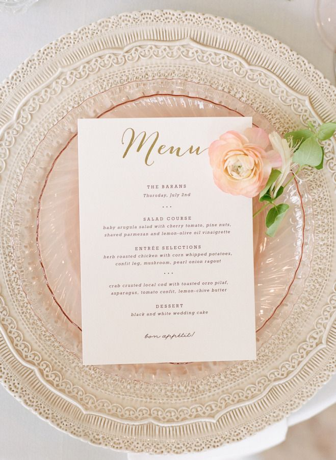 Gorgeous plates and printed menus: http://www.stylemepretty.com/2015/08/13/elegant-seaside-wedding-at-belle-mer/ | Photography: Rebecca Yale - http://rebeccayalephotography.com/