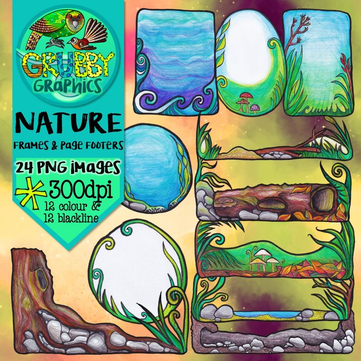 This set contains a selection of nature themed frames and page footers – perfect for adding an earthy whimsical touch to your resources!  This set contains 24 images (12 colour and 12 blackline) as high quality (300 dpi) PNGs with transparent backgrounds.