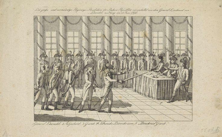 Anonymous | Staatsgreep door generaal Daendels, 1798, Anonymous, 1798 | Staatsgreep door militairen onder bevel van generaal Herman Willem Daendels, 12 juni 1798. Daendels valt met een groep militairen een zaal binnen waar drie leden van het Uitvoerend Bewind aan een tafel zitten. Op de achtergrond staat een rij soldaten van de garde.