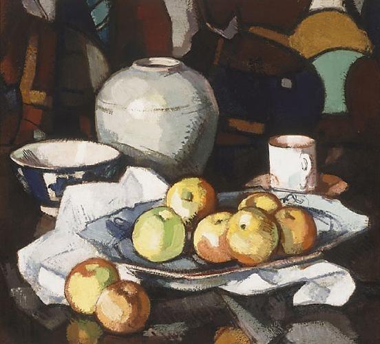 Samuel Peploe- still life, apples and jar