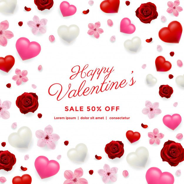 Valentines Day Sale Background With Flowers And Hearts Premium