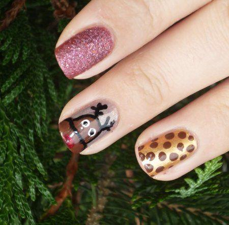 Rudolph nail art #nailart #rudolph - bellashoot.com