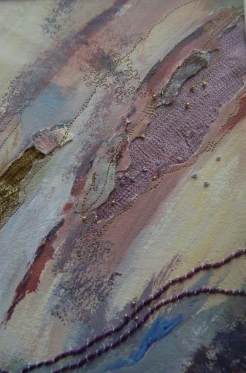 Stellata Landscape 1 by Linda Dewart - Mixed media: paint, paper, stitch, cloth, beading http://www.textilia3.co.uk/page10.htm #mixed_media #fiber_art