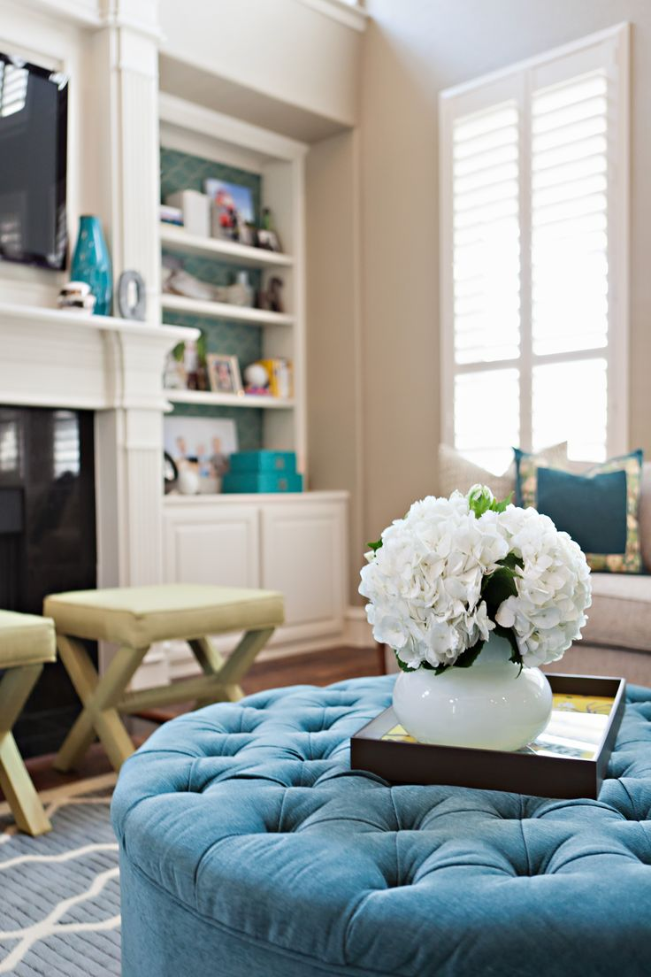 Turquoise sofa contemporary living room katie rosenfeld design - Basement Bdrm Neutral Grayish Wall White Anchoring Furniture Pieces Accents In Teal
