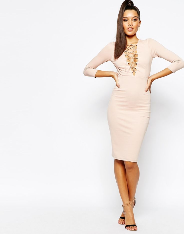 Image 4 ofNaanaa Lace Up Front Midi Bodycon Dress With 3/4 Sleeve
