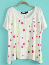 White Batwing Short Sleeve Polka Dot T-Shirt $21.45  #SheInside #hipster #love #cute #fashion #style #vintage #repin #follow