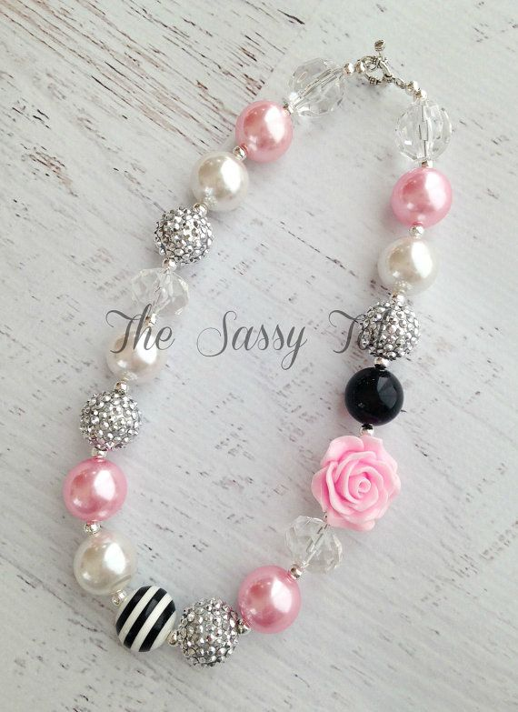 Chunky Baby Necklace Bubblegum Necklace Pearl Baby by TheSassyTot