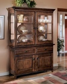Signature Design By Ashley Larchmont Dark Brown Dining Room Buffet And Hutch