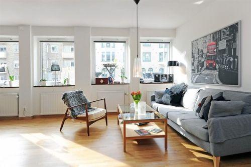 Living room swedish apartment with north european interior for Swedish living room ideas