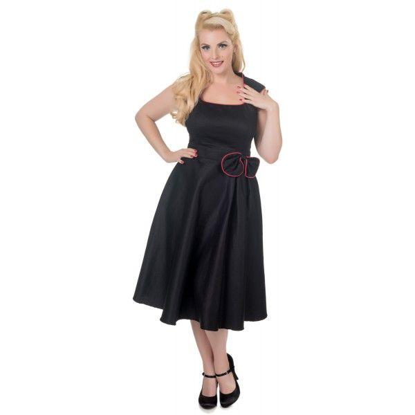 Šaty Dolly and Dotty Harriet Black Red Krásné šaty ve stylu 50. let za ještě lepší cenu. Vhodné na večírky, plesy, svatby či jiné společenské události. Moc pěkné šaty v klasické černé barvě s úzkým červeným lemem a mašlí u pasu, v pase příjemně projmuté (nepřidávají objem), decentní nabrání pouze k jedné straně. Pěkný výstřih, zapínání na krytý zip v zadní části, krásně padnou, příjemná, silnější, strečová bavlna (95% bavlna, 5% elastan). Pro dokonalý a bohatý vzhled sukně doporučujeme…