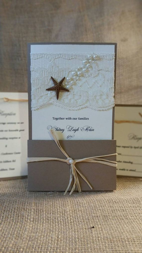 Check out this item in my Etsy shop https://www.etsy.com/listing/191585045/seashell-wedding-invitationslace-pearl