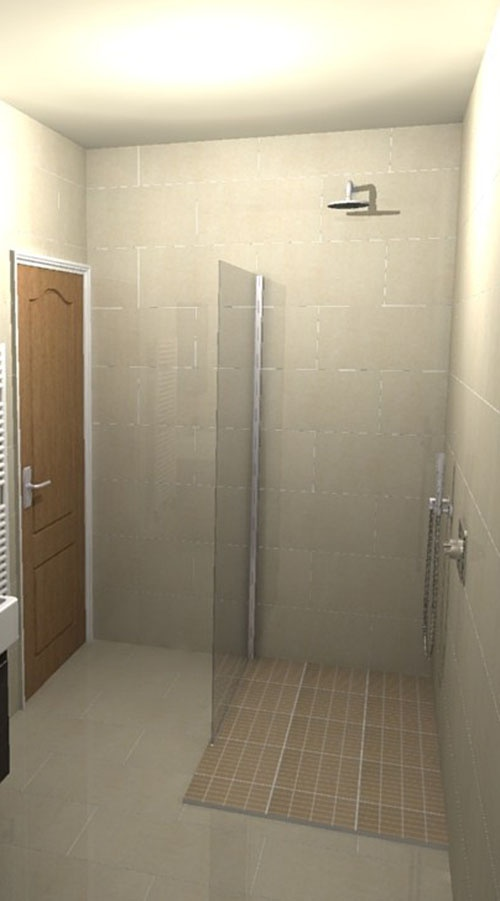 A Small En Suite Wet Room With Contrasting Floor Tiles And Drench Shower  Head. Part 76