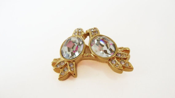 #Vintage Gold Tone Crystal #Bird #Brooch by TreasuresOnBroadway, $21.00