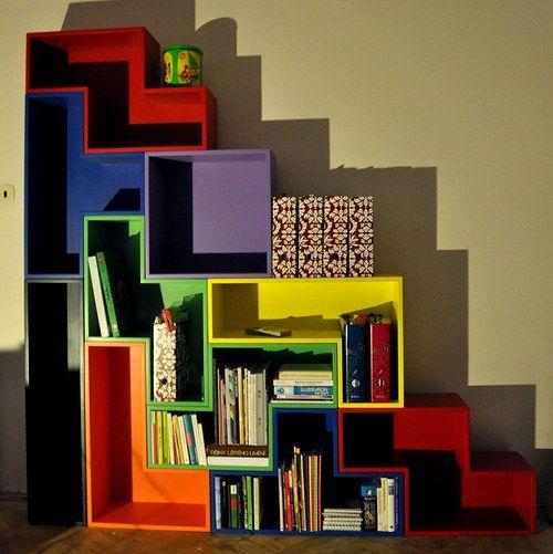 Tetris bookcase so fun i still love this game for da for Tetris bookshelf