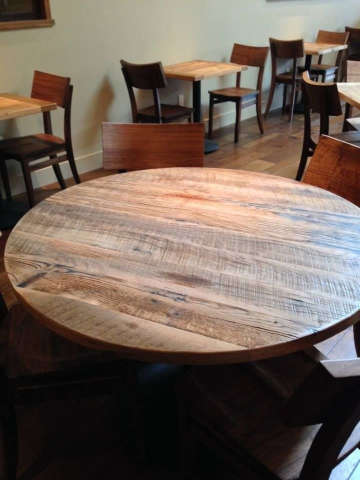 round reclaimed wood restaurant table top blacks farmwood - Restaurant Dining Room Furniture