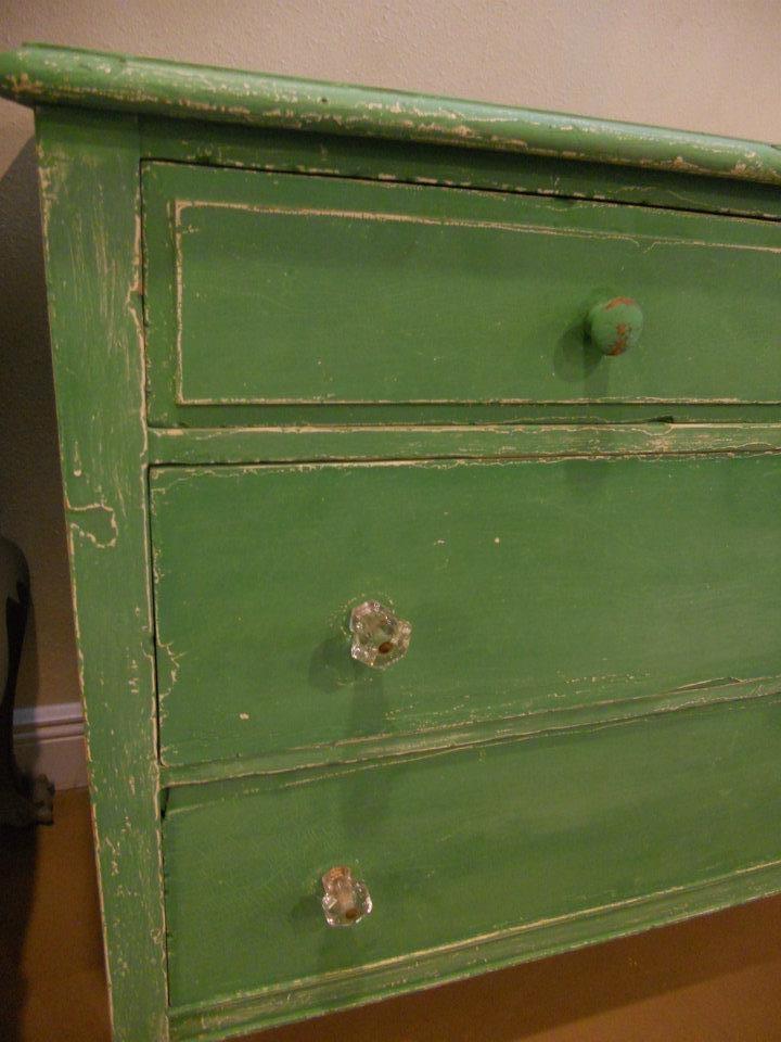 green distressed dresser. Vintage john Deere room