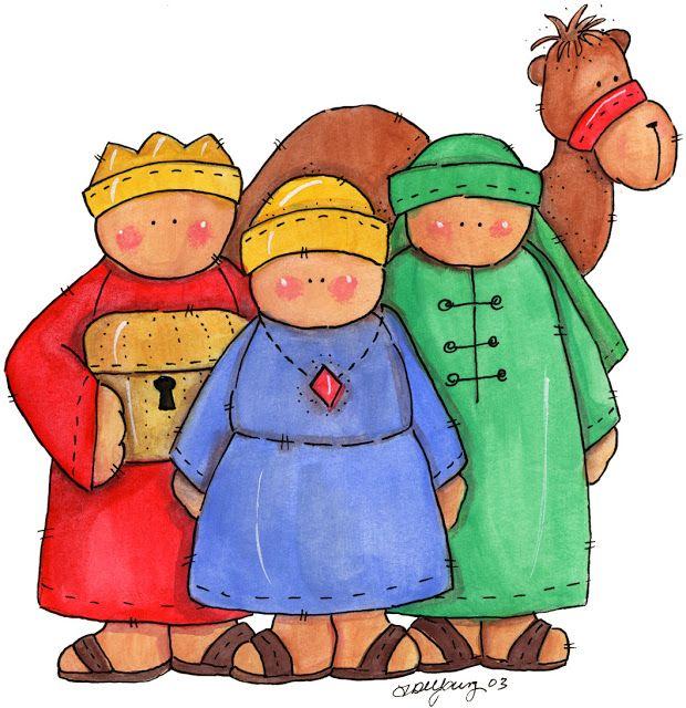 Reyes Magos con camello. Dibujo a color