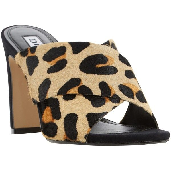 Dune Martey Block Heeled Mule Sandals (€37) ❤ liked on Polyvore featuring shoes, sandals, leopard, flat leather mules, mule sandals, block heel sandals, flat shoes and leather sandals