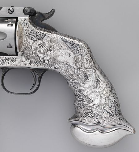 Between about 1880 and 1905, Tiffany  Co. embellished a series of deluxe handguns for the nation's leading firearms manufacturers, notably Colt, Winchester, and, most important, Smith  Wesson.
