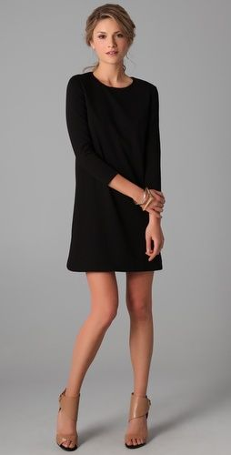 Long Sleeve Dress / Tibi: Black Shift Dress, Black Dress Long Sleeve, Style, Long Sleeved Dress, Shift Dresses, Little Black Dresses, Lbd, Long Sleeve Dresses