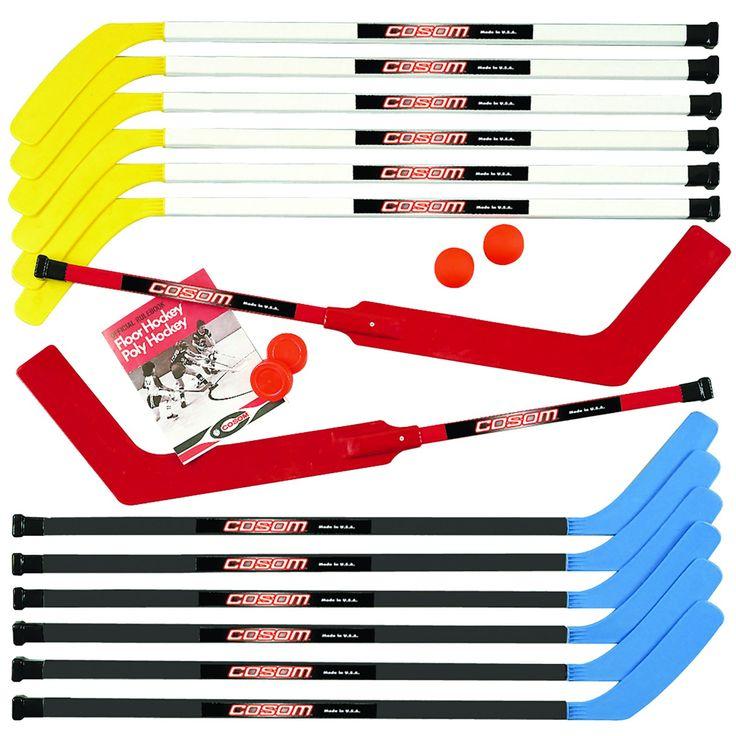 "Cosom Junior Hockey Sticks for Floor Hockey and Street Hockey for Kids, Youth Hockey Set, 20 Pieces 12 Plastic Sticks, 2 Goalie Sticks, 2 Replacement Blades, 2 Pucks and 2 Balls, 43"", Standard Shaft"