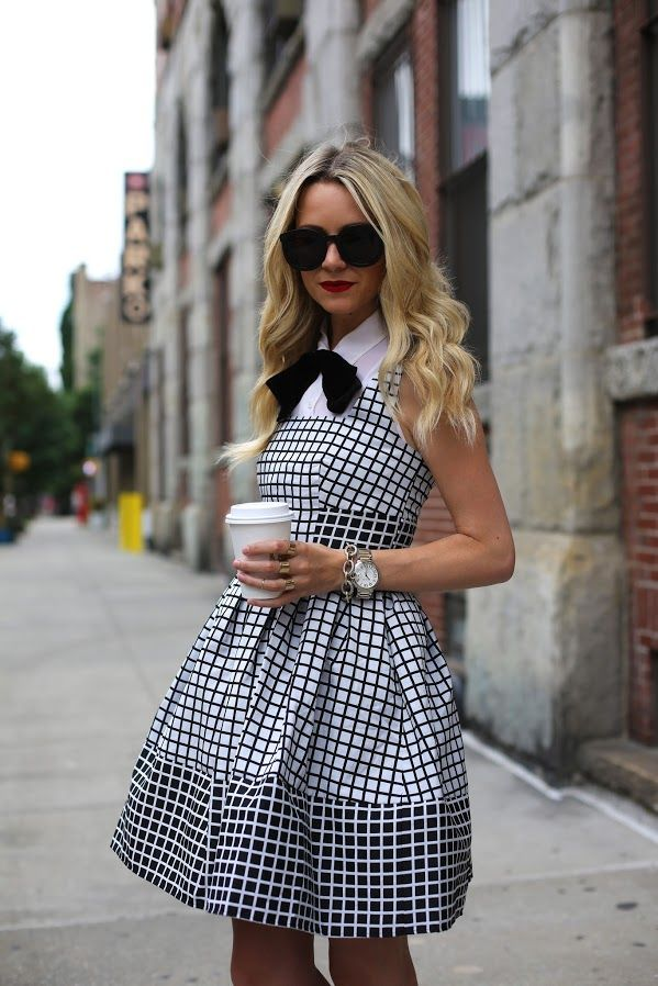black, white, dress, fashion, girl, style,