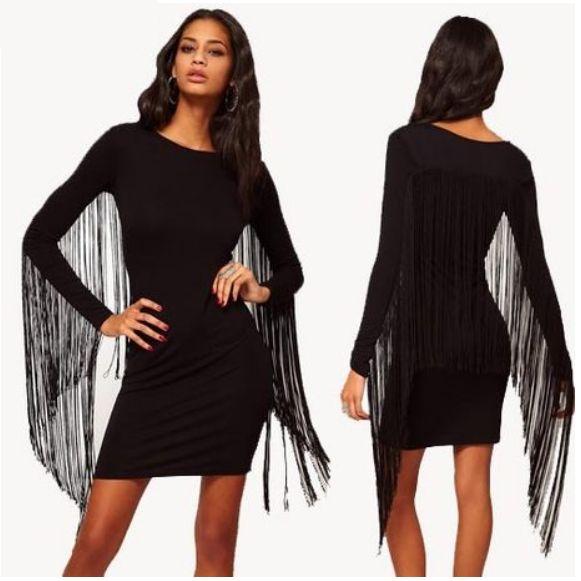 Wholesale New style fashion long sleeve back tassels decoration sexy mini dress HY-132513497 - Lovely Fashion