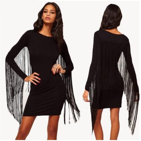 Wholesale New style fashion long sleeve back tassels decoration sexy mini dress HY-132513497 - Lovely Fashion