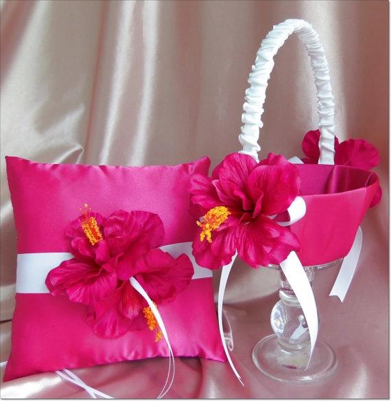 The 24 best ring bearer and flower girl images on pinterest flower hibiscus wedding ring bearer pillow and flower girl basket hot pink fuchsia hibiscus mightylinksfo