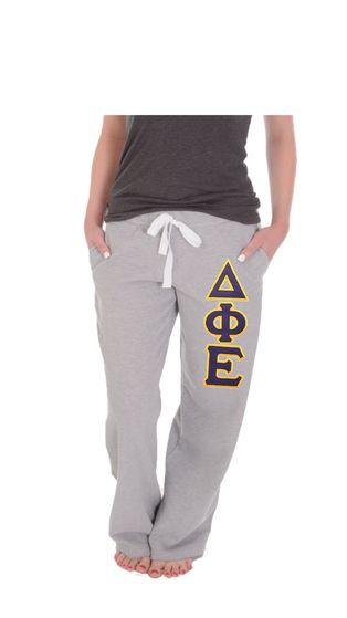 Delta Phi Epsilon Sweatpants . Open Leg . Two Layer