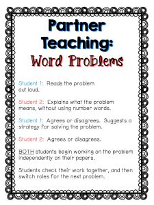Tackling word problems in partners! - Learning at the Primary Pond