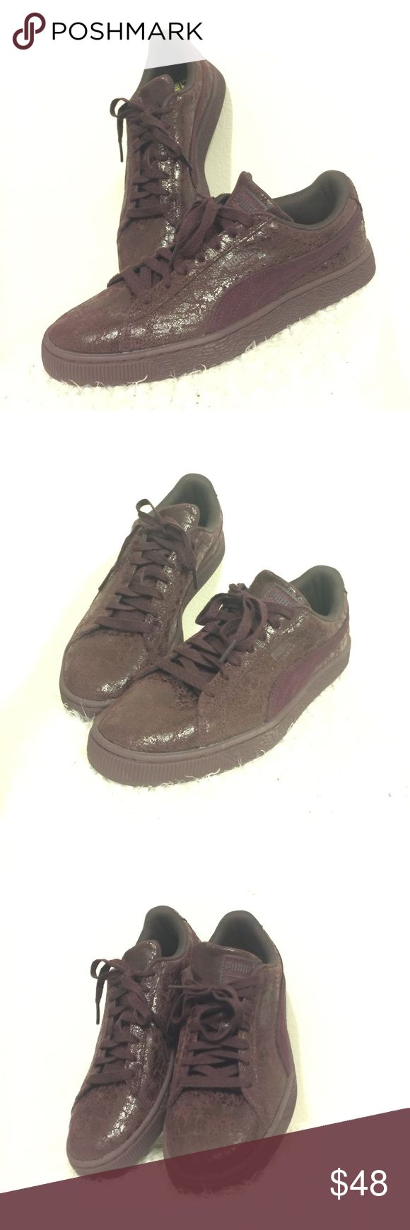 PUMA Suede Classics in Mono Burgundy PUMA • Suede Classic •  an original and popular Puma shoe • Mono Burgundy / Deep Red / Matching upper & Soles • Suede with Patent Speckle Pattern •  GOOD LOOKING SNEAKERS • NEW with out tags • NWOT • US Women's Size 9 •  🎆 Price is Firm 🎆 Puma Shoes Sneakers