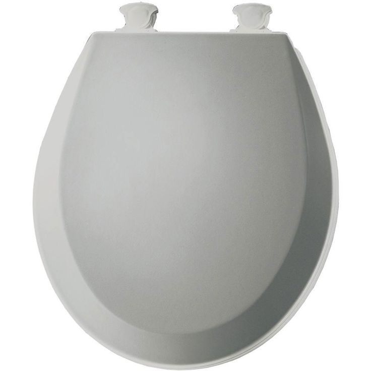 Bemis 500EC162 Molded Wood Round Toilet Seat With Easy Clean and Change Hinge, Silver 529834