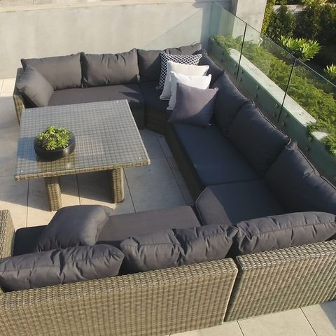 Bring versatility to your outdoor living space with the Excalibur Roma U-Shaped Lounge Package. Able to comfortably sit eight this package is perfect for larger outdoor areas and can be configured in different ways depending on your needs.  Create a relaxed atmosphere in your outdoor area with this spacious lounge package