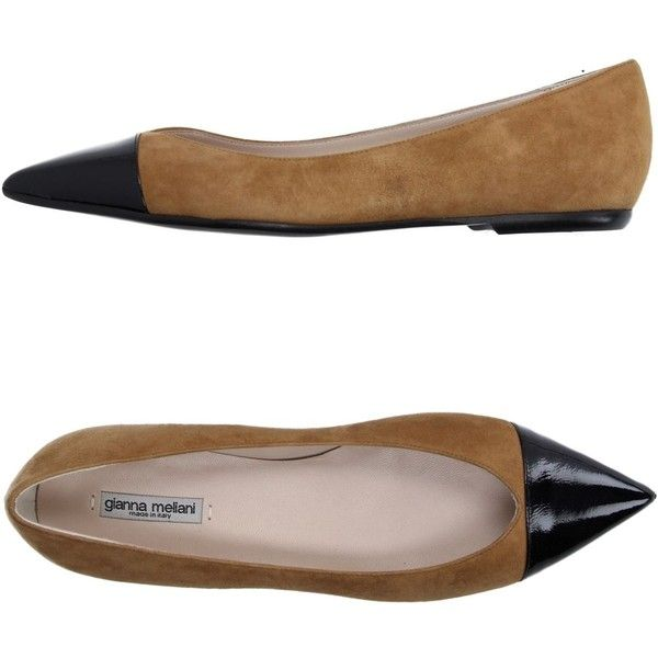 Gianna Meliani Ballet Flats ($148) ❤ liked on Polyvore featuring shoes, flats, camel, ballerina shoes, leather shoes, camel ballet flats, leather flats y two tone shoes