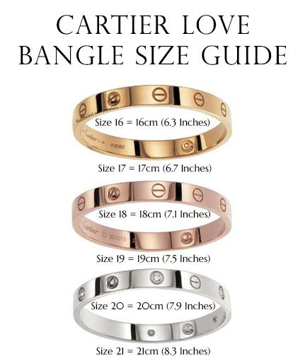 cartier bracelet sizes cartier bangle size guide designer gems jewelry 9583