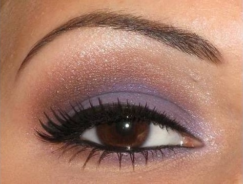 gold and lavender make up